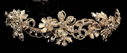 Gold Plated Floral Hand Wired Dimensional Bridal Headband
