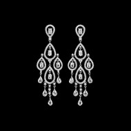 "Over 3"" Long CZ Chandelier Bridal Earrings - Silver, Gold, Rose Gold"
