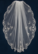 """40"""" Long Silver Beaded Floral Embroidery Wedding Veil  C468"""