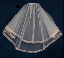 Two Layer Elbow Length Wedding Veil with Organza Ribbon Edge