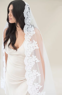 Beaded Lace Mantilla Cathedral Length White Wedding Veil