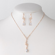 5 Sets Rose Gold Teardrop Crystal Bridesmaid Jewelry