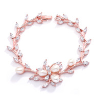 Rose Gold Plated Freshwater Pearl and CZ Bridal Bracelet