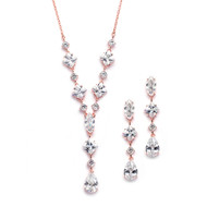 Glamorous Rose Gold Plated  CZ Wedding Jewelry Set