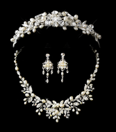 Freshwater Pearl and Rhinestone Fantasy Tiara and Bridal Jewelry Set