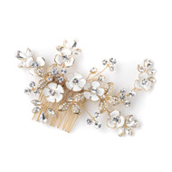 Gold Plated  Wedding Comb with White or Ivory Enameled Flowers