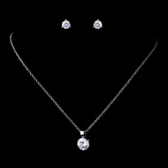 6 Sets Petite Silver Plated CZ Pendant and Earring Bridesmaid Jewelry