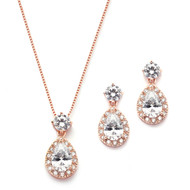 5 Sets Rose Gold CZ Pear Necklace and Earrings  Bridesmaid Jewelry