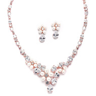 Rose Gold Freshwater Pearl and CZ Statement Wedding Jewelry Set