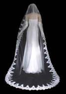 """Beaded French Lace Edge 120"""" Royal Cathedral Length  Wedding Veil"""