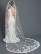 Partial Floral Lace Cathedral Length Wedding Veil in Ivory