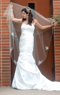 "60"" Long Two Layer Beaded Lace Encasement  Wedding Veil Drop Veil"