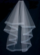 "Two Layer  60"" Long Wedding Veil with Horsehair Trim"