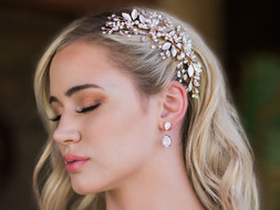 Rose Gold Floral Bridal Comb Envogue HC1832