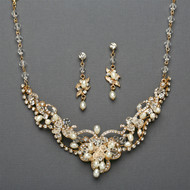 5 Gold Freshwater Pearl and Crystal Wedding Jewelry Sets