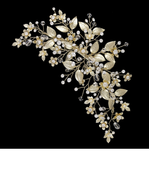 "6 1/2"" Long Light Gold Pearl and Crystal Bridal Hair Clip"