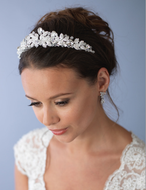 "2"" Tall Hand Wired Silver, Gold or Rose Gold Plated Crystal Wedding Tiara"