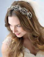 Couture Antique Silver Plated Floral rhinestone Headband