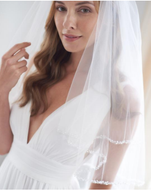 Two Layer Beaded Pearl and Crystal Edge Fingertip Wedding Veil