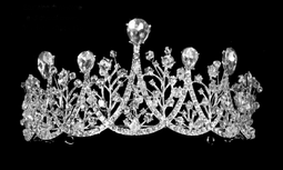 "3"" Tall Multi Peak Rhinestone Wedding and Quinceanera Tiara in Silver"