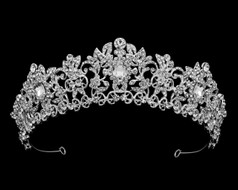 Intricate Silver Plated Rhinestone Wedding and Quince Tiara