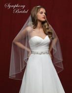Angel Cut Beaded Edge Fingertip Wedding Veil 6832VL