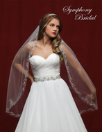 Beaded Scroll Embroidery Fingertip Wedding Veil 6813VL