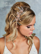 Rose Gold Pearl and Rhinestone Floral Clip Symphony Bridal CL5091