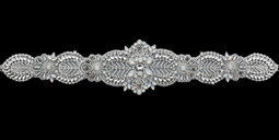Rhinestone  and White Opal Beaded Wedding Belt Envogue BT1885