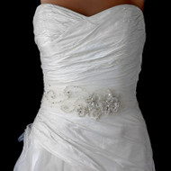 Ivory  Beaded Floral Lace on Tulle Wedding Belt Sash