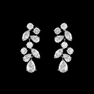 Multi Cut CZ Drop Wedding Earrings in Silver, Gold, Rose Gold