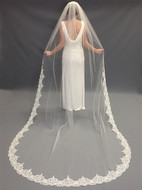 Beaded Partial Lace Edge Cathedral Length Wedding Veil V5048C