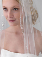 Ivory Beaded Crystal Floral Vine Fingertip Wedding Veil v5071