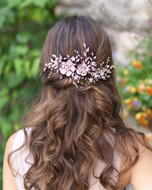 "8"" Long Floral Vine Wedding Hair Clip in Silver, Gold, or Rose Gold"