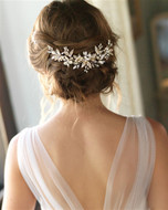Back Headpiece Pearl Wedding Hair Comb in Silver, Gold, or Rose Gold