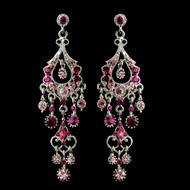 Pink Chandelier Formal Earrings in Antique Silver