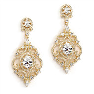 Gold Plated Victorian Scrolls CZ Wedding Earrings