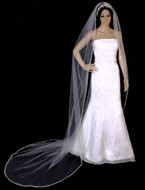 """144"""" Long Regal Cathedral Extra Full Beaded Pearl Wedding Veil"""