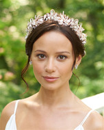Crystal, Rhinestone and Pearl Gold or Rose Gold Wedding Tiara