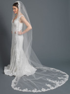 Beaded Floral Embroidery Lace Cathedral Wedding Veil