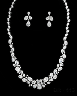 "Multi Cut CZ Bridal Jewelry Set with 18 1/2"" Long Necklace"