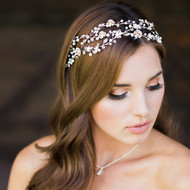 Light Gold Floral Vine Headband with Pearls Envogue HB1811