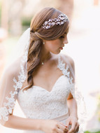 Beaded Floral Lace Fingertip Wedding Veil Envogue V1995SF