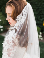Beaded Floral Lace Fingertip Wedding Veil Envogue V1996SF
