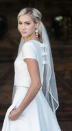 Beaded Edge Fingertip Wedding Veil Envogue V1993SF