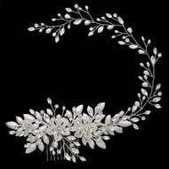 Pearl and Rhinestone  Hair Garland Vine Wedding Headpiece