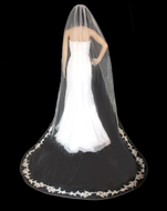 Partial Lace Edge Cathedral Wedding Veil with Pearls