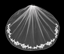 Partial Lace Edge Fingertip Wedding Veil with Pearls