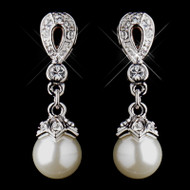 Silver Plated CZ and Ivory Pearl Wedding Earrings - Pierced or Clip On