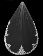 Beaded Floral Rose Alencon Lace Cathedral Wedding Veil V3210CU